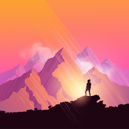 mountain sunset: A woman hiking through a scenic mountain pathway stops to admire the view. Vector illustration