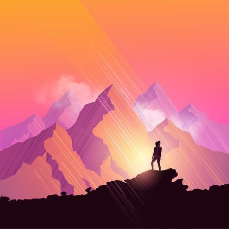 montagna: Una donna escursioni a piedi attraverso un sentiero di montagna panoramica si ferma per ammirare il panorama. illustrazione di vettore