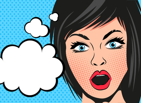 shocked: A retro cartoon woman with a shocked expression and speech bubbles. Vector illustration.