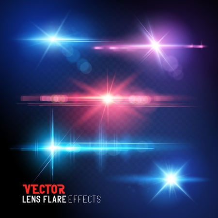 powerful: A set of vector lens flare and sun light flares -  special effects. Illustration