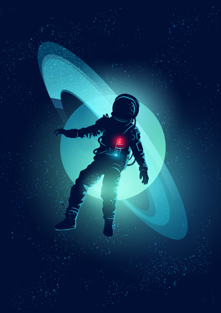 floating: An astronaut floating through Space. Vector illustration