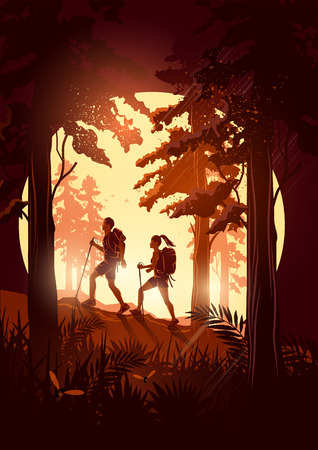 trekking: A couple of people with backpacks enjoy hiking through a scenic forest. Vector illustration