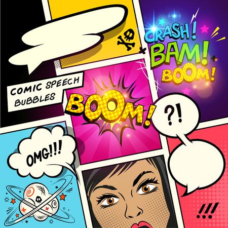 Tekstballonnen op een stripverhaal achtergrond met cartoon acties. vector illustratie Stockfoto - 64214428