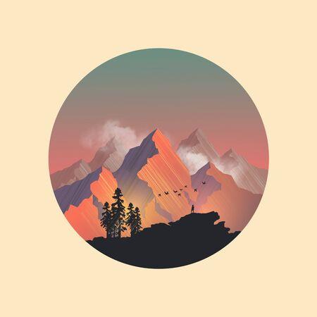 mountain range: Mountain range peaks catching the evening sunlight. Vector illustration Illustration