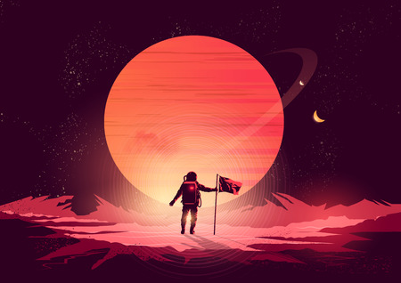 Aventura hombre del espacio - astronauta exploración de un nuevo planeta. Ilustración del vector.