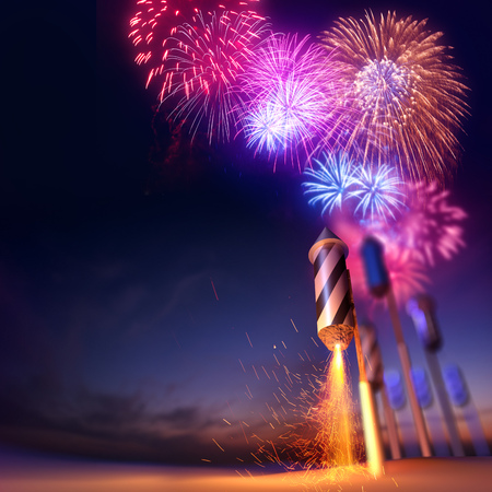 Dramatic low angle of a lit firework rocket fuse about to launch. Fireworks event background. 3D illustration.
