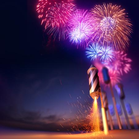 fogatas: bajo ángulo dramático de un fusible de cohete de fuegos artificiales iluminado a punto de lanzar. Los fuegos artificiales de fondo evento. Ilustración 3D. Foto de archivo