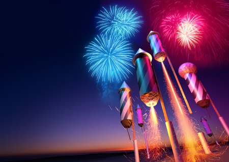 Firework rockets launching into the night sky.  Fireworks event background. 3D illustration. Foto de archivo