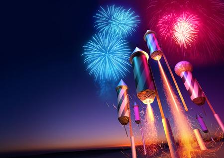 Vuurwerk raketten lanceren in de nachtelijke hemel. Vuurwerk evenement achtergrond. 3D-afbeelding.