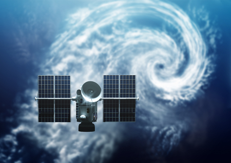 Weather Satellite orbiting Earth. Below A tropical Storm Hurricane is forming  - 3D Illustration.