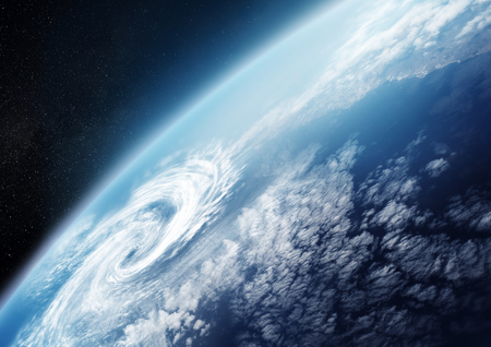 earth from space: Planet Earth from space close up with Cloud formations. Illustration -  NO NASA images used. Stock Photo