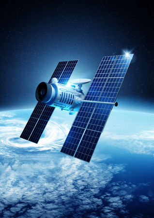 orbiting: A modern satellite orbiting planet Earth. 3D illustration.