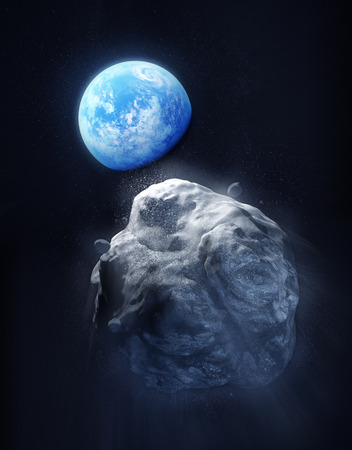 meteor crater: A large Meteor breaking up and heading towards planet Earth. 3D Illustration.