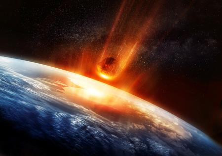 大流星の書き込みと輝くそれは地球の大気を打つ。3 D イラスト。