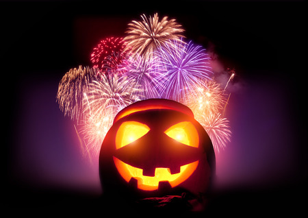 Halloween Fireworks Party. Glowing Jack O Lantern pumpkin with a fireworks display event.