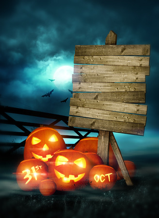 31st: Happy Halloween background decorated with pumpkins and fairy lights! Illustration. Stock Photo