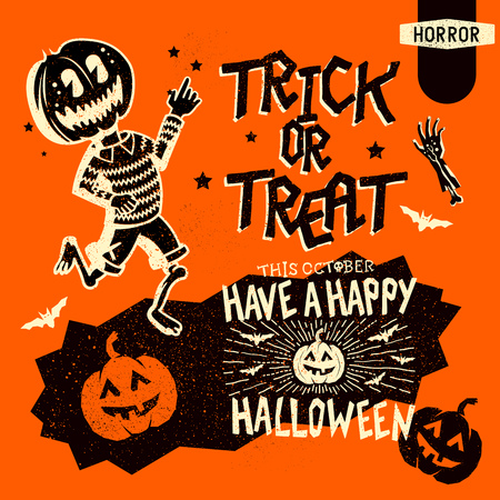 mischievous: Set of retro vintage halloween design elements including signs, lettering and hand drawn characters. Vector illustration Illustration