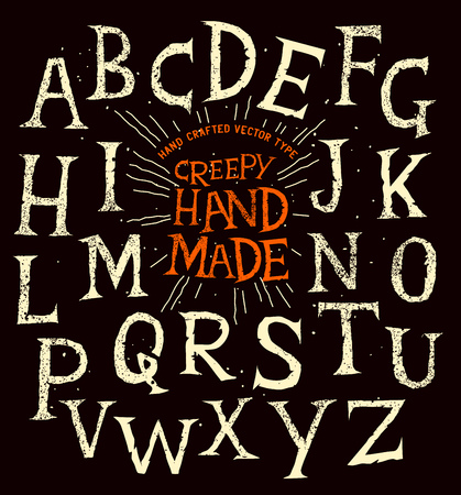 hand made: Creepy old halloween hand made alphabet lettering. Vector illustration. Illustration
