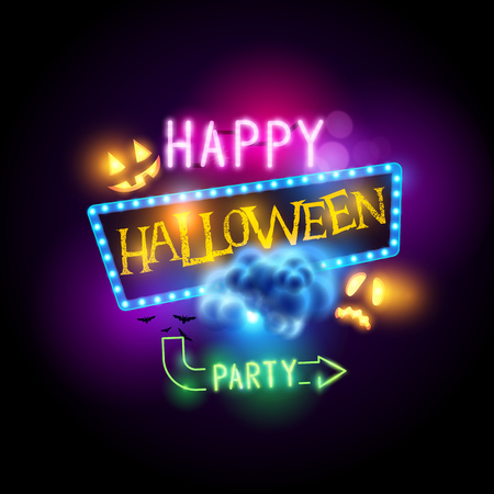 jack o  lanterns: Happy halloween sign with jack O Lanterns and neon letters. Vector illustration.
