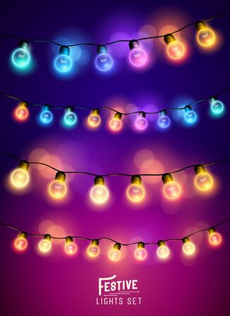led: A collection of various colourful and festive fairy lights. Vector illustration Illustration