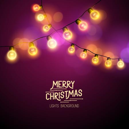 strings: Christmas Fairy Lights - Seasonal decorations with colourful lights. Vector illustration. Illustration