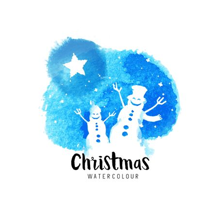 falling snow: Festive christmas vector illustration with falling snow and cheering snowmen.