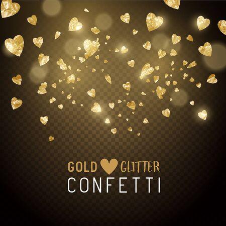 metallic: Luxury falling shiny and gold metallic heart shaped confetti. Vector illustration.