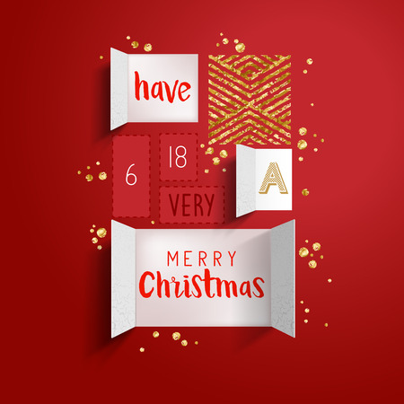 Christmas advent calendar doors open to reveal a festive message with gold details. Vector illustration Vectores