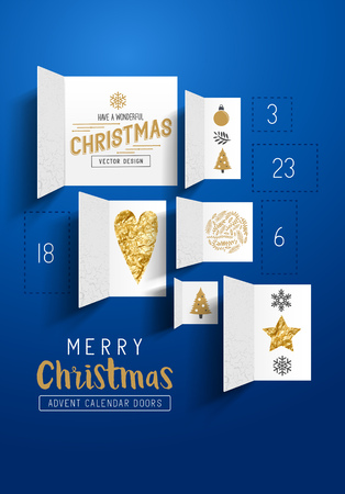 reveal: Christmas advent calendar doors open to reveal festive images. Vector illustration