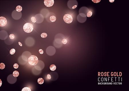 Duża Róża Złoty Glitter konfetti strona tłem. Ilustracji wektorowych