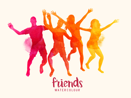 relationships human: Watercolour vector illustration of young bright coloured friends jumping together.