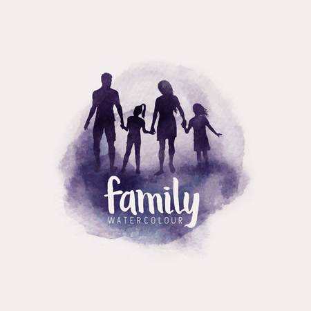 watercolour style family, Parents and children walking together. vector illustration