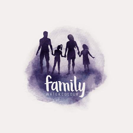 famiglia di stile dell'acquerello, genitori e bambini che camminano insieme. illustrazione vettoriale Vettoriali