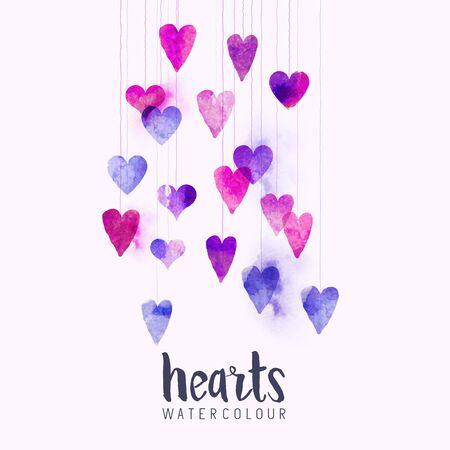 Un conjunto de acuarela corazones de amor en cuerdas. Ilustración vectorial