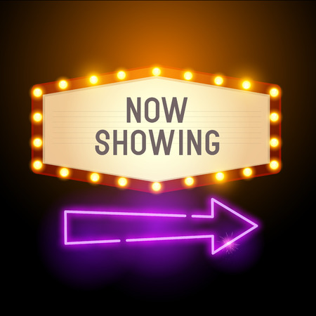 A retro vintage theatre style sign with glowing lights, room for text and a neon arrow. Vector illustration Illustration