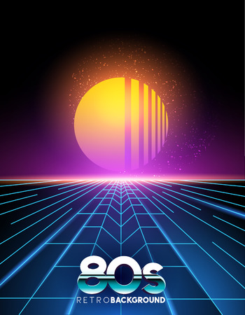 music: retro 1980s style neon digital abstract background with laser beams and a sunset.
