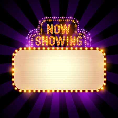 signe théâtre / cinéma vintage avec des lumières et une salle pour le texte. Vector illustration