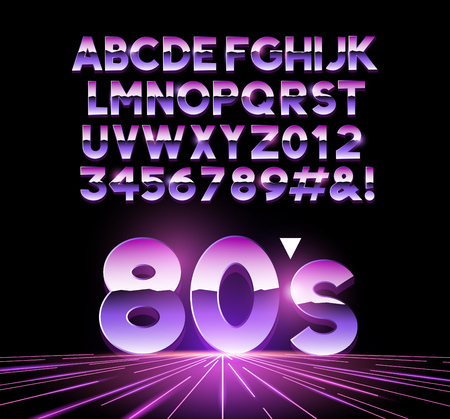 retro Airbushed style 1980's shiny Letters with a futuristic look from the decade. Vector illustration