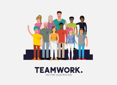 crowd happy people: A team of diverse and happy casual people. Vector illustration Illustration