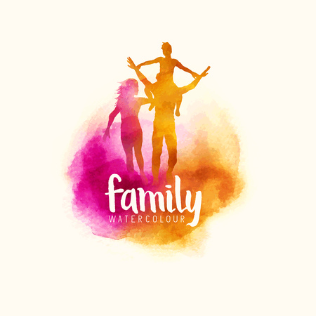 watercolour style family, Parents having fun with their child. vector illustration