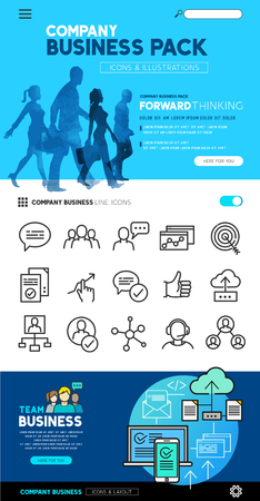 customer: Business layout designs with flat icon set and people illustrations - vector collection.