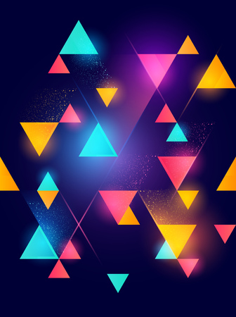 Glowing neon geometric pattern background. Vector illustration.