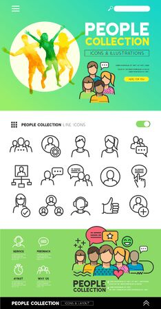 grupos de personas: People icons and illustrations with teams and connecting groups. Vector illustration. Vectores