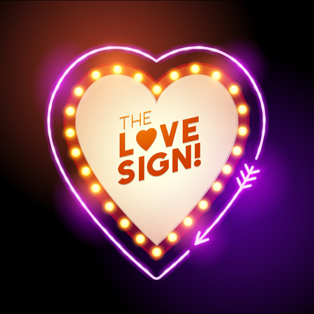 A glowing and lit up neon heart shaped love sign with room for text. Vector illustration