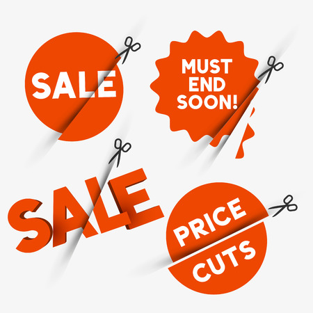 sliced: Red sale signs and discount price cut symbols. Vector illustration