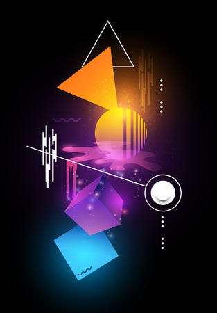 Abstract modern background design with glowing and moving shapes. Vector illustration Illustration