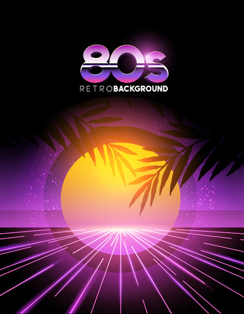 decade: retro 1980s style neon digital abstract background with laser beams and a sunset.