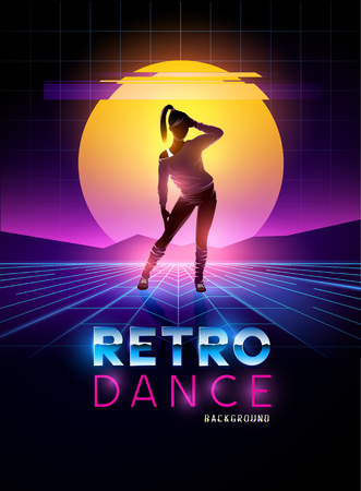 decade: Retro 1980s dancing lady with glitch sunset background. Vector illustration Illustration