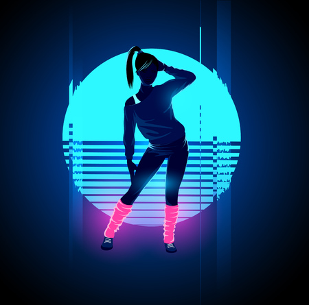 Retro 1980s glowing neon dancing lady with glitch sunset background. Vector illustration