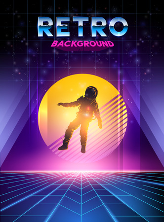 Retro 1980's digital neon background with sunset and spaceman. Vector illustration